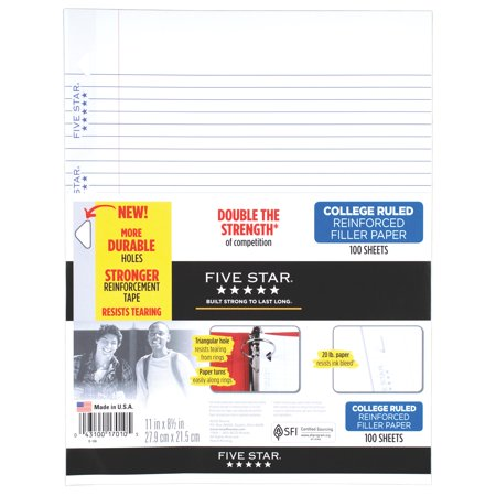Five Star  Reinforced Filler Paper  College Ruled  11   X 8 1 2    100 Sheets Pack