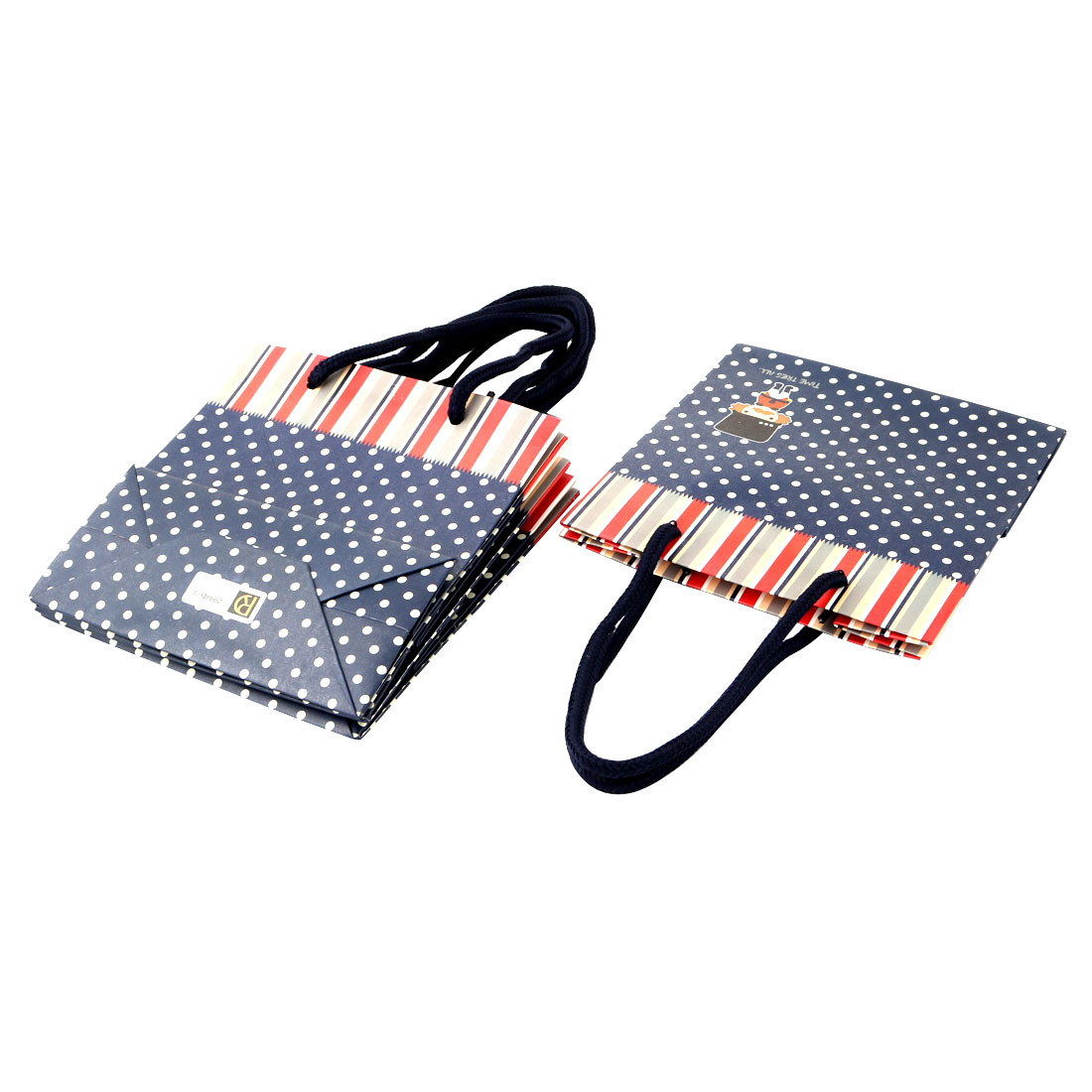 Unique Bargains Paper Dot Stripe Soldier Pattern Birthday Gift Packaging Bags Navy Blue 4pcs