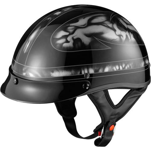 GLX DOT Half Motorcycle Helmet, Skull Silver, XXL