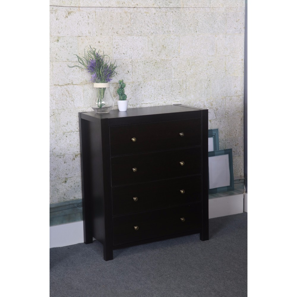 Contemporary Style Dark Brown Finish 4 Drawers Chest.