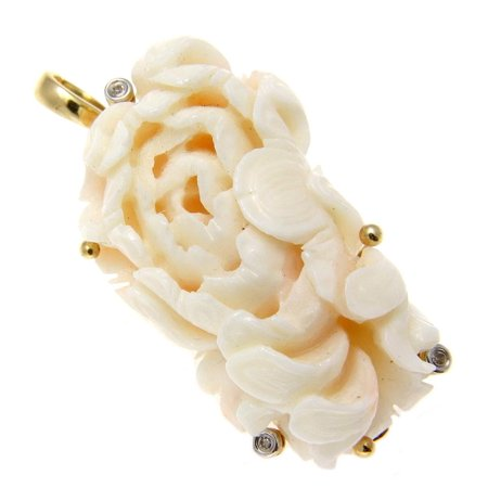 Genuine natural angel skin white coral carved flower pendant enhancer 14k gold