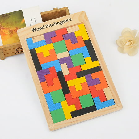 Wooden Tetris Puzzle 40 Pcs Brain Teasers Toy for Kids, Wood Puzzle Box Brain Games Wood Burr Tangram Jigsaw Toy Children Days