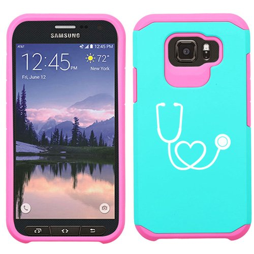 For Samsung Galaxy (S7 Active) Shockproof Impact Hard Soft Case Cover Heart Stethoscope Nurse Doctor (Light Blue-Hot Pink)