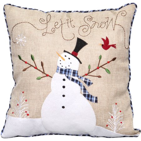 Holiday time 14 natural burlap snowman pillow with for Snowman made out of burlap