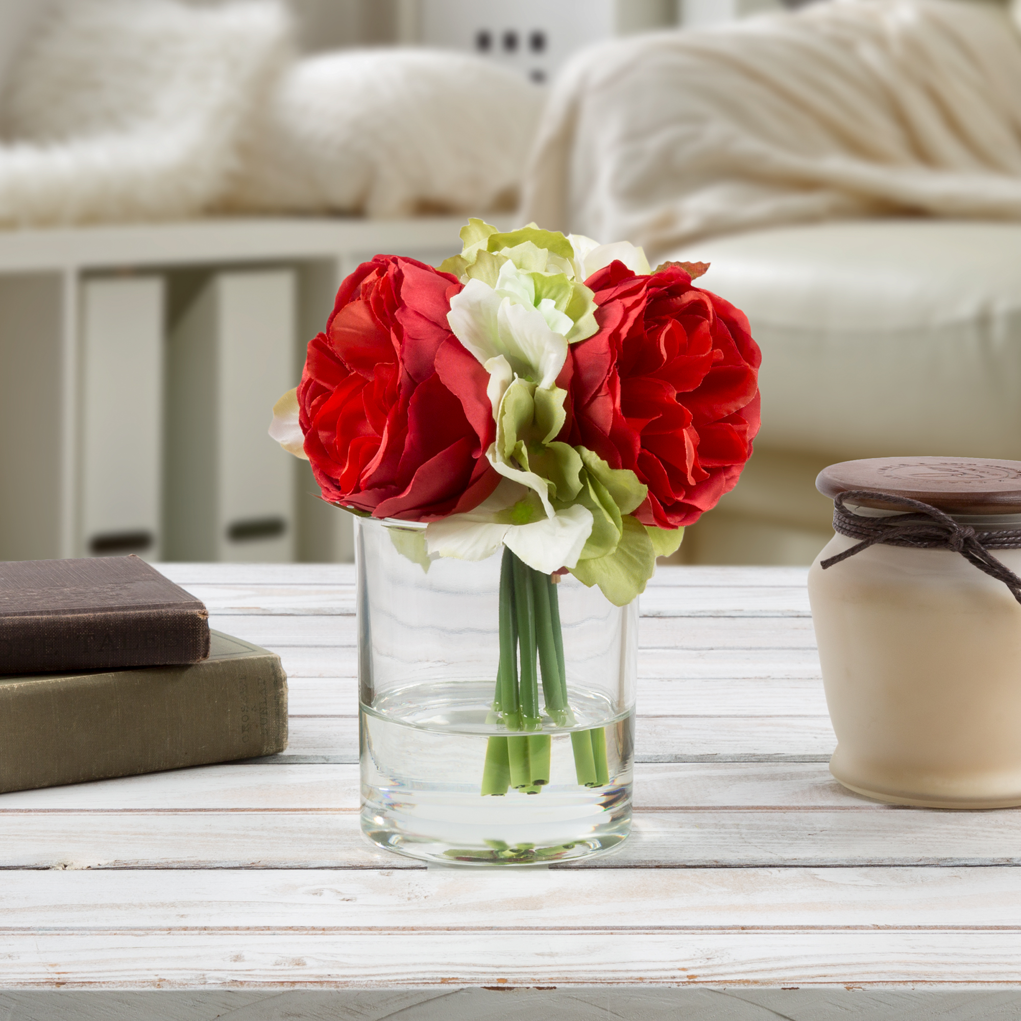 Hydrangea and Rose Artificial Floral Arrangement with Vase and Faux Water- Fake Flowers for Home Decor, Shower Centerpiece by Pure Garden (Red)