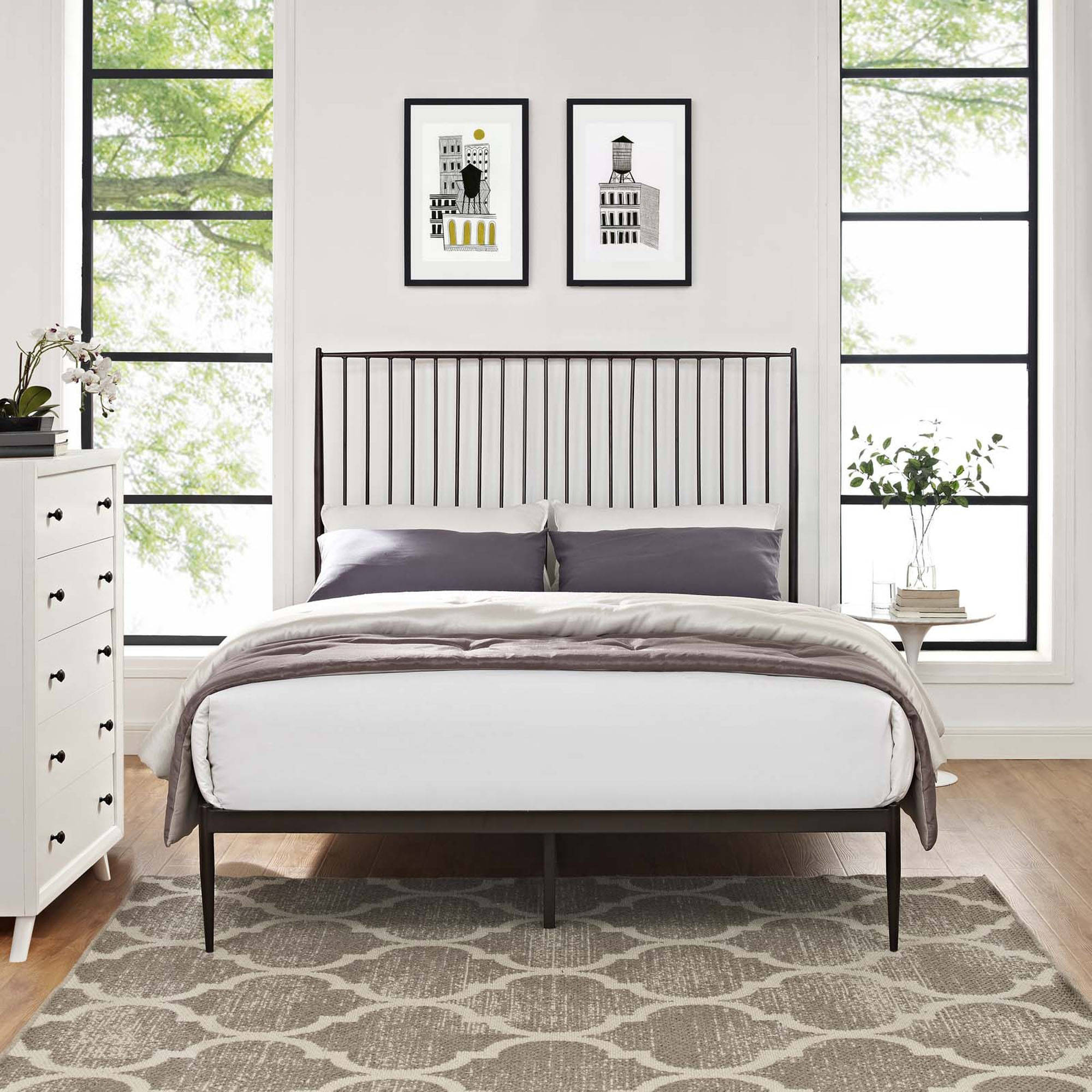 Modway Annika Queen Steel Platform Bed, Multiple Colors