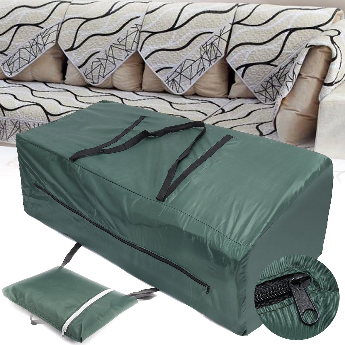 Heavy Duty Patio Cushion Durable And Water Resistant Oversized Patio Garden  Storage Bag Carry Cover Pouch
