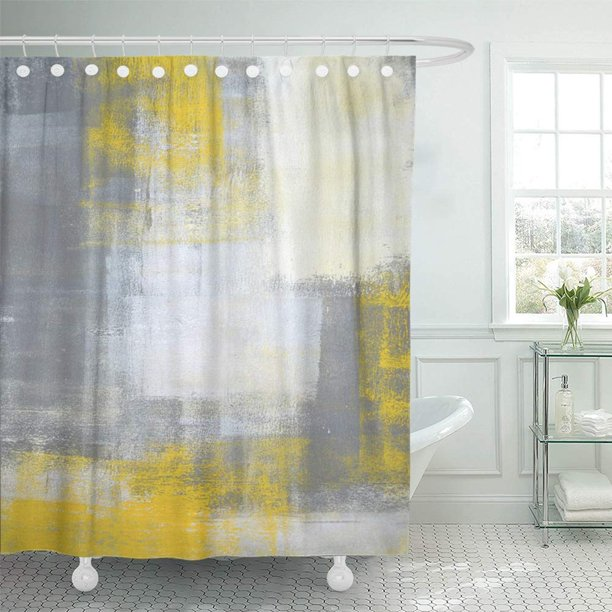 Pknmt Gray Modern Grey And Yellow, Gray White And Yellow Shower Curtains