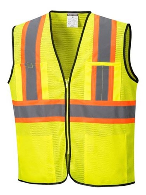 Portwest US381 3XL Frisco Hi-Visibility Contrast Mesh Vest, Yellow - Regular