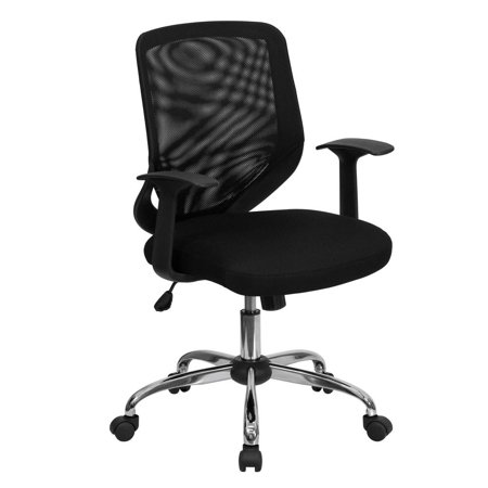 Tapered Back (Mid-Back Black Mesh Tapered Back Swivel Task Office Chair with Chrome Base and T-Arms)