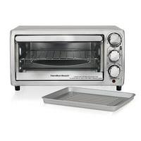 Hamilton Beach 4 Slice Non Slip Kitchen Countertop Toaster Oven, Stainless Steel