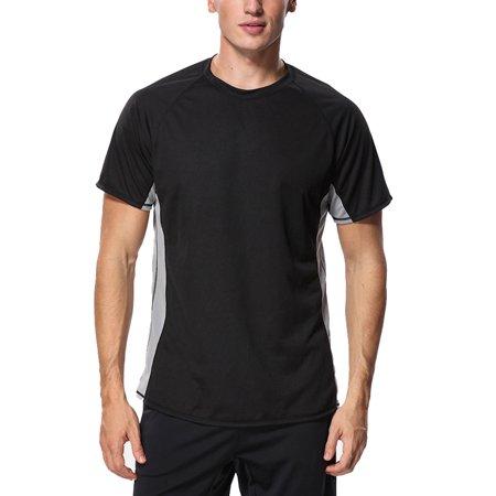 Charmo Mens Rashguard Swim Shirt Quick-Dry Sun Protection Rash Guard Short Sleeve Swim Tops