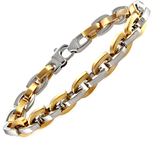 """Men's Yellow and White Stainless Steel U-Link Bracelet, 9"""""""