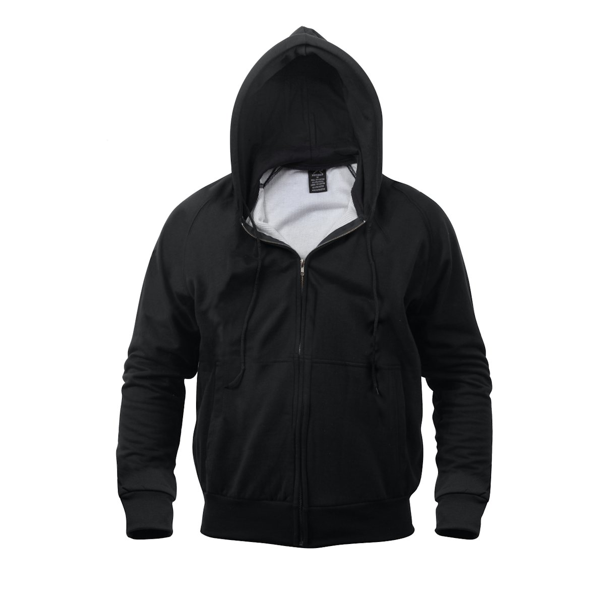 Thermal Lined Zipper Hooded Sweatshirt, Black, Large - Walmart.com