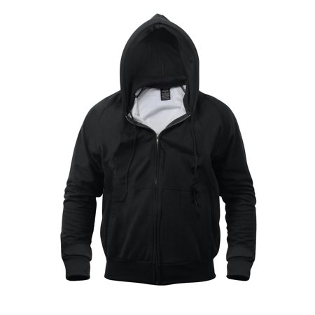 Thermal Lined Zipper Hooded Sweatshirt, Black, Large - Walmart.com
