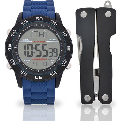 Image of Men's Blue Rubber Digital Watch with Tool