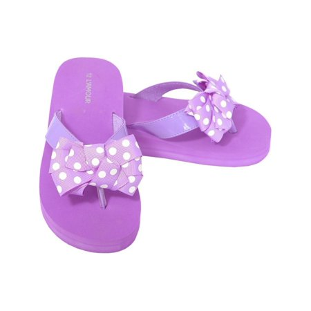 78915c4c4 L Amour - L Amour Purple Polka Dot Bow Wedge Flip Flop Sandals Little Girls  11-4 - Walmart.com