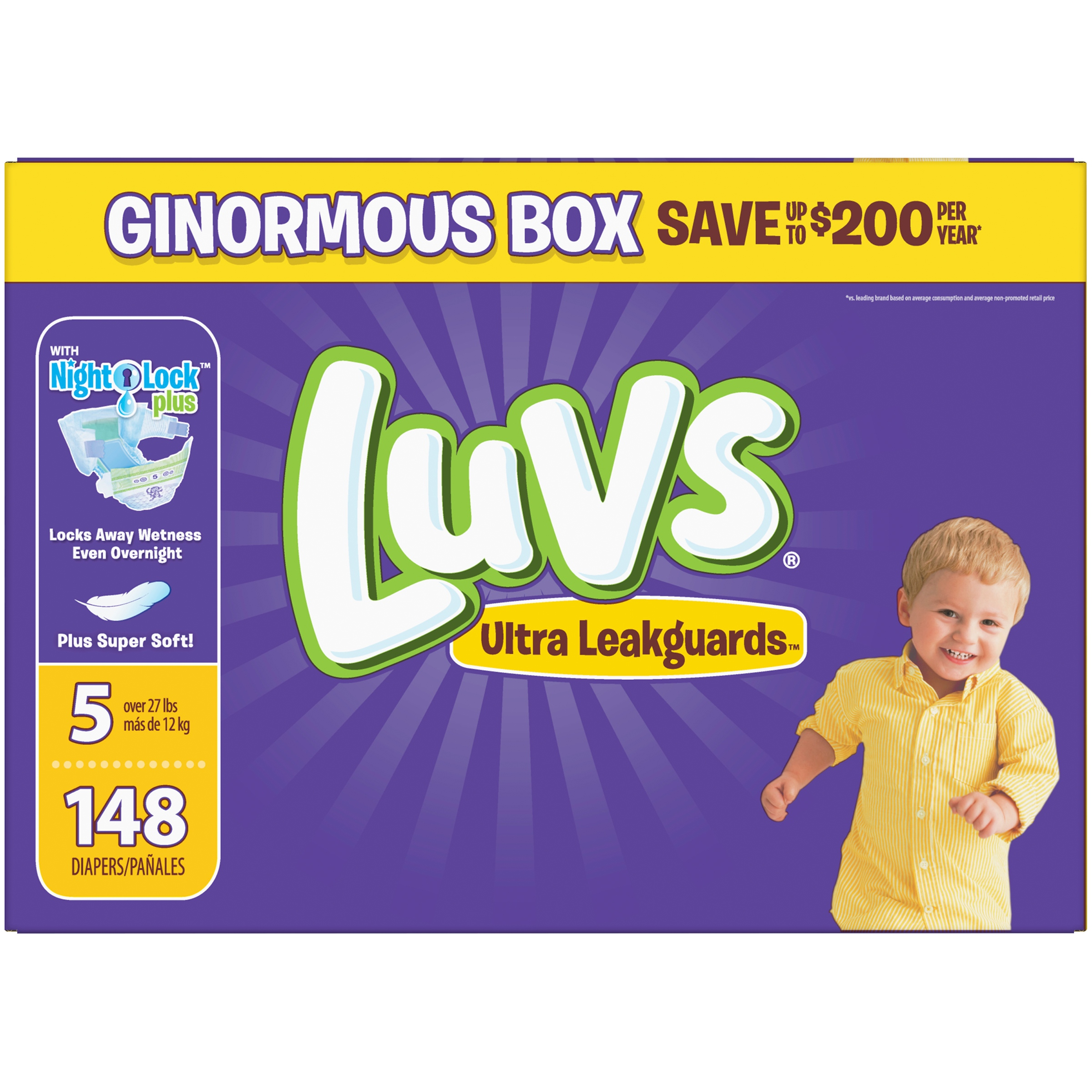 Luvs Ultra Leakguards Diapers, Size 5, 148 Count by Luvs