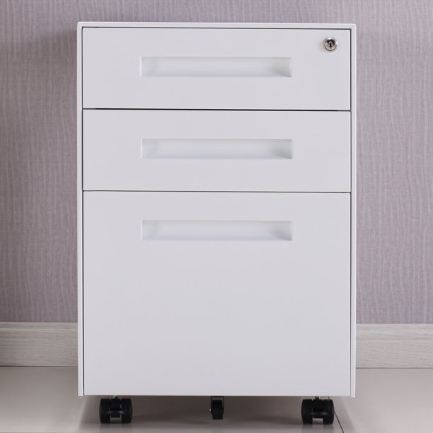 DOACT 3-Drawer Mobile Metal File Cabinet with Lock and ...