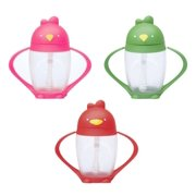 Lollacup Infant And Toddler Straw Cup, 3 Pack - Pink/Red/Green