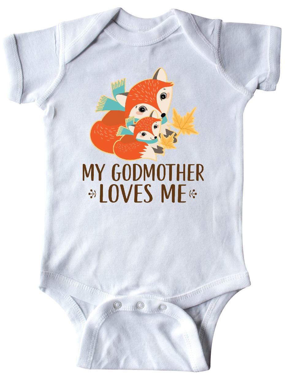 inktastic My Godmother Loves Me Cute Baby Fox Long Sleeve Creeper