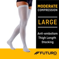 FUTURO Anti-Embolism Stockings, Thigh Length, Closed Toe, Large, Regular, White