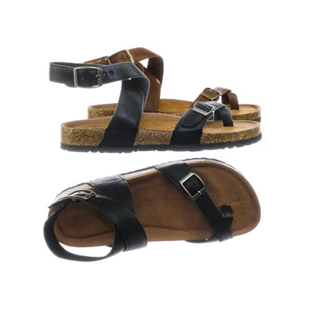 Casual Footbed (Defeat26 by Bamboo, Molded Cork Footbed Adjustable Ankle Wrap Strap Flat, Women)