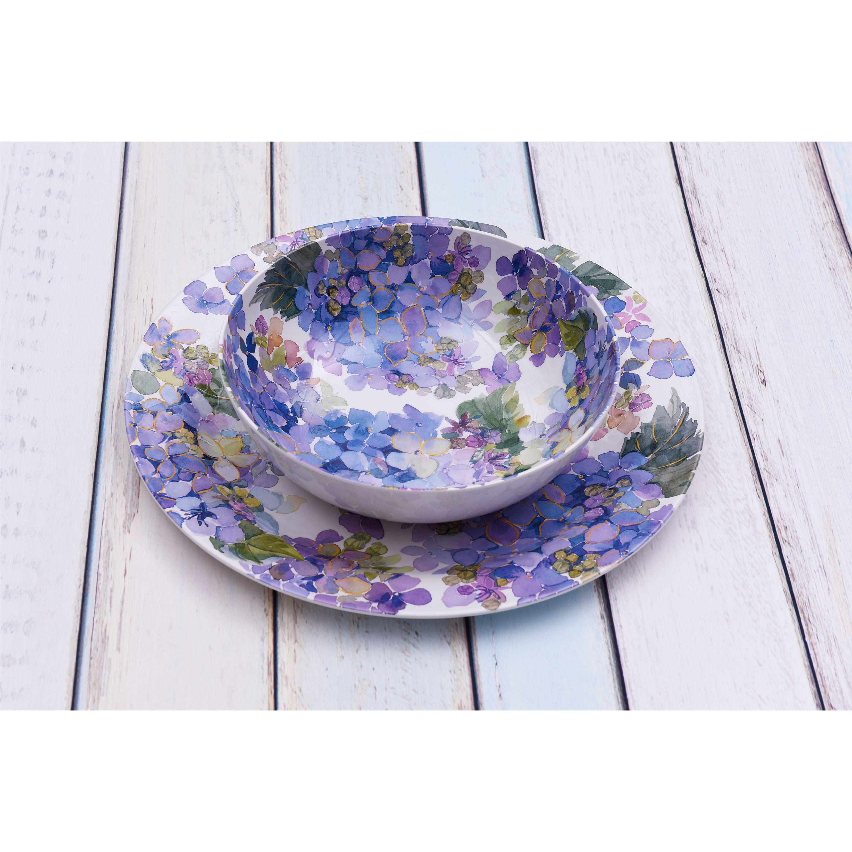 Better Homes & Gardens Hydrangea Melamine Platter and Serving Bowl Set, Purple