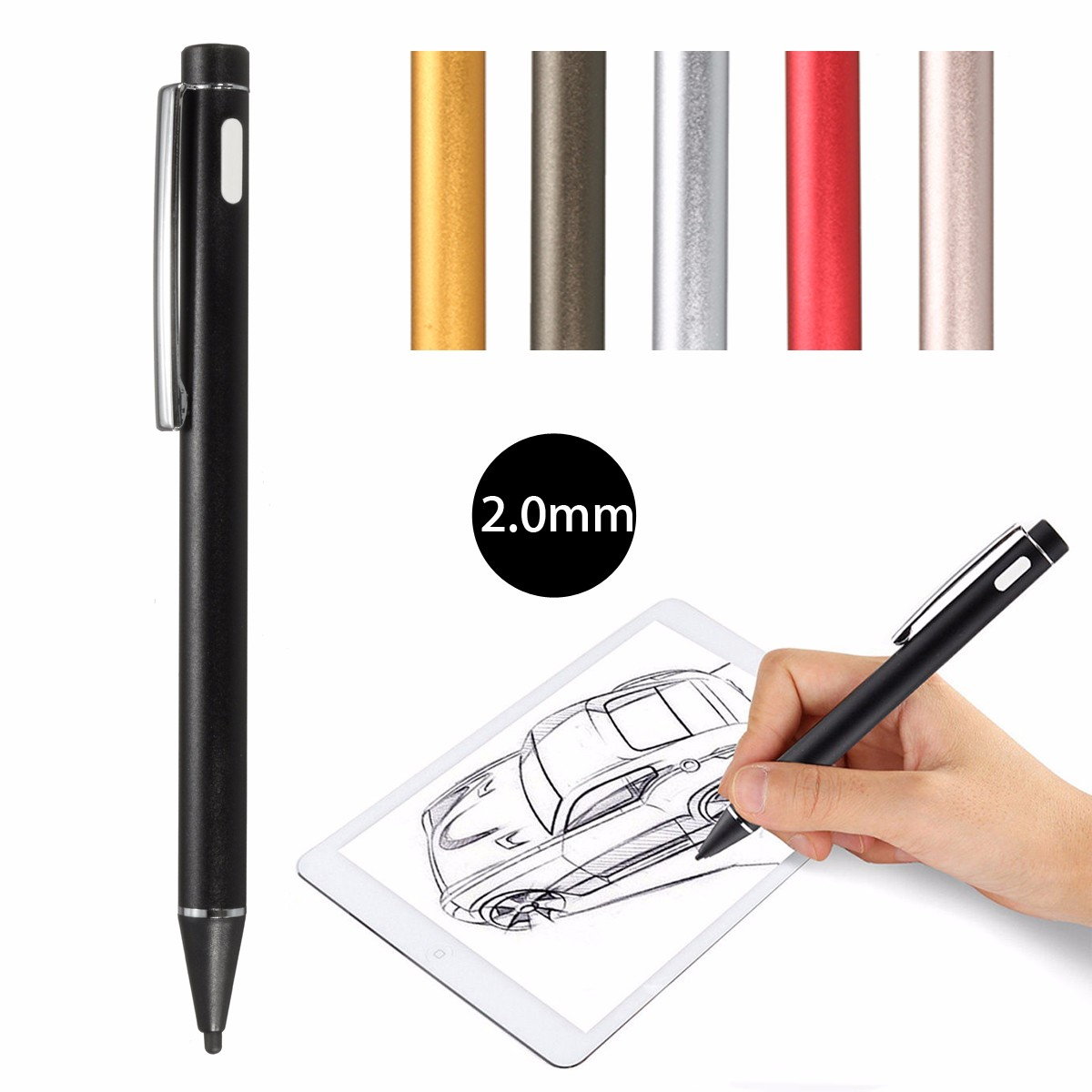 Universal 2.0mm Active Stylus Capacitive Touch Screen Pen  for iPhone, iPad 2, most Android tablet and smartphone Digital Drawing Pens