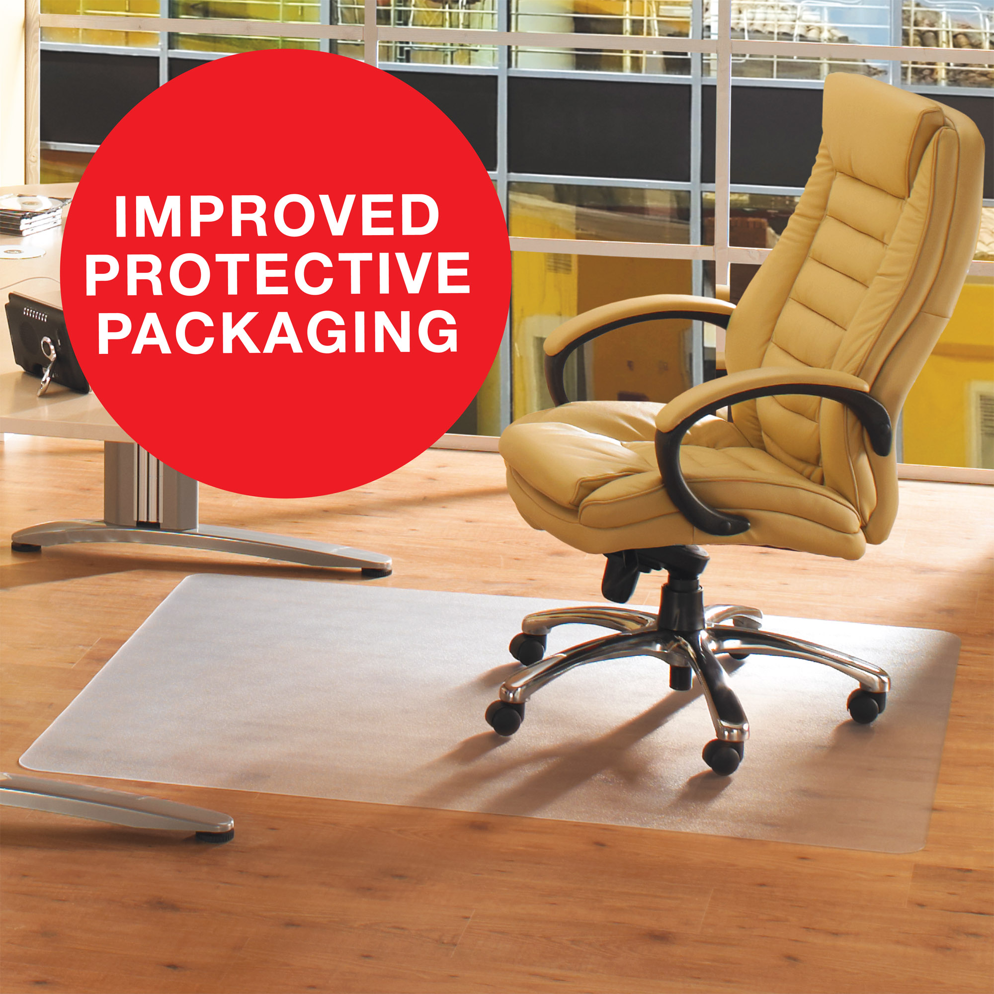 """Floortex Advantagemat   PVC Rectangular Chair Mat for Hard Floor   Size 30"""" x 48"""""""