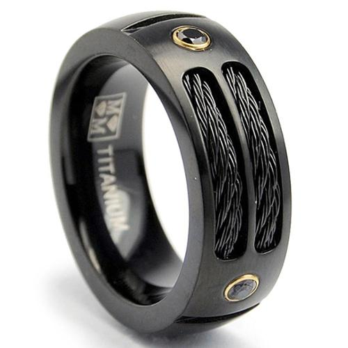 Oliveti Black Plated Titanium Men's Steel Cable and Black CZ Band (8 mm) SIZE 8.5
