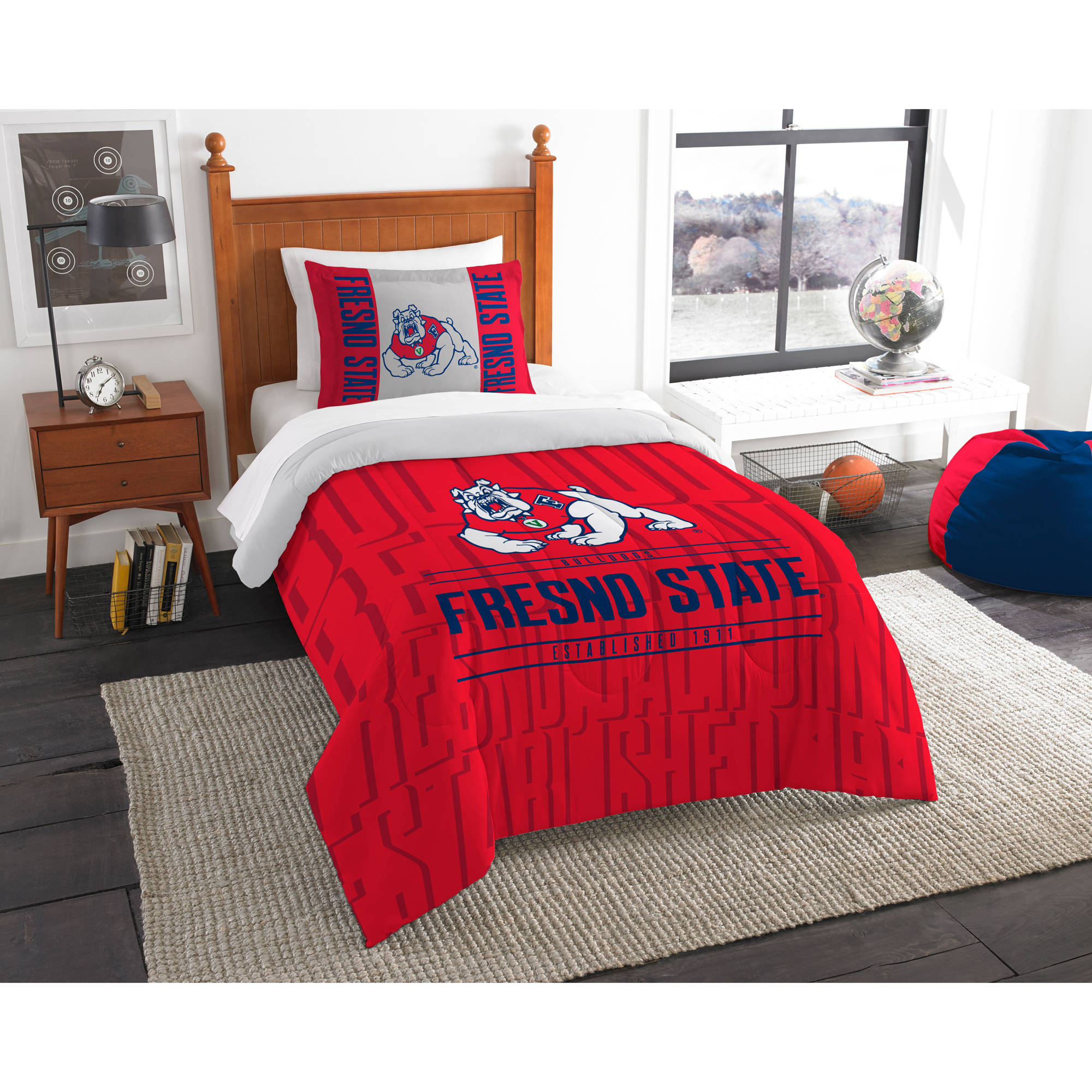 The Northwest Company NCAA Fresno State Bulldogs Modern Take Bedding Comforter Set