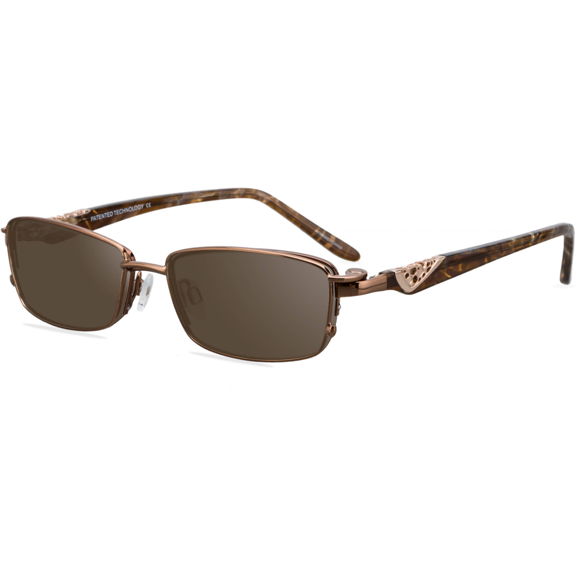 EasyClip Womens Prescription Glasses, S3208 Brown