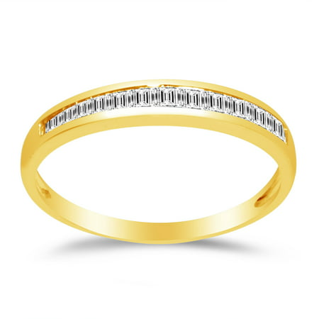 Gold Wedding Band Set - Solid 14k Yellow Gold 2.5mm Baguette Cut Channel Invisible Set Anniversary Ring Wedding Band CZ Cubic Zirconia 1/2 cttw. , Size 7