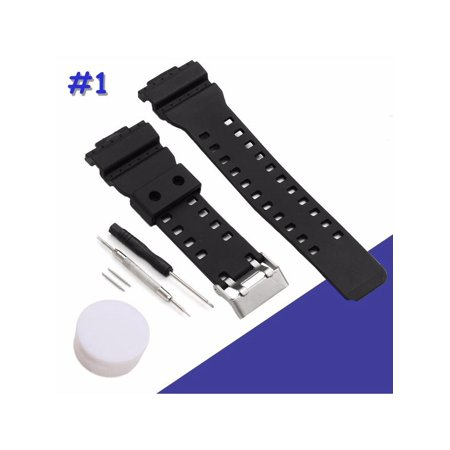 Black Silicone Rubber Replacement Strap Band With Tool For G-Shock Watch Fitting 16mm Width Waterproof 16 Mm Width Band