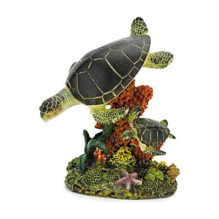 Penn Plax Swimming Sea Turtles Aquarium Figure - Medium - 3.25L x 5H in.
