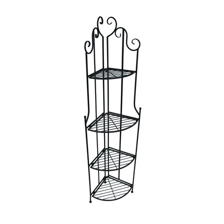 4 Tier Rustic Black Metal Wire Corner Rack Shelf 63 in