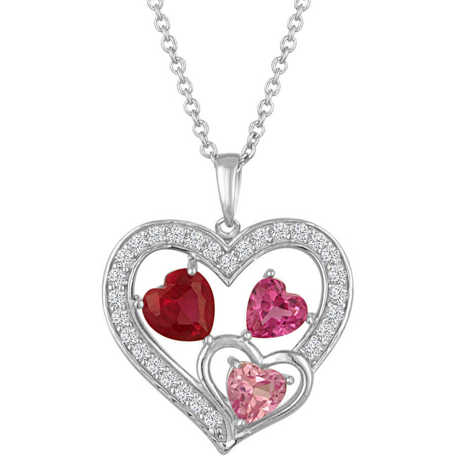 Gemspirations Sterling Silver Plated Simulated Ruby & Simulated Pink Sapphire with CZ Accents Heart Pendant, 18""
