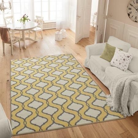 Ottomanson Studio Collection Yellow Trellis Design Area or Runner Rug