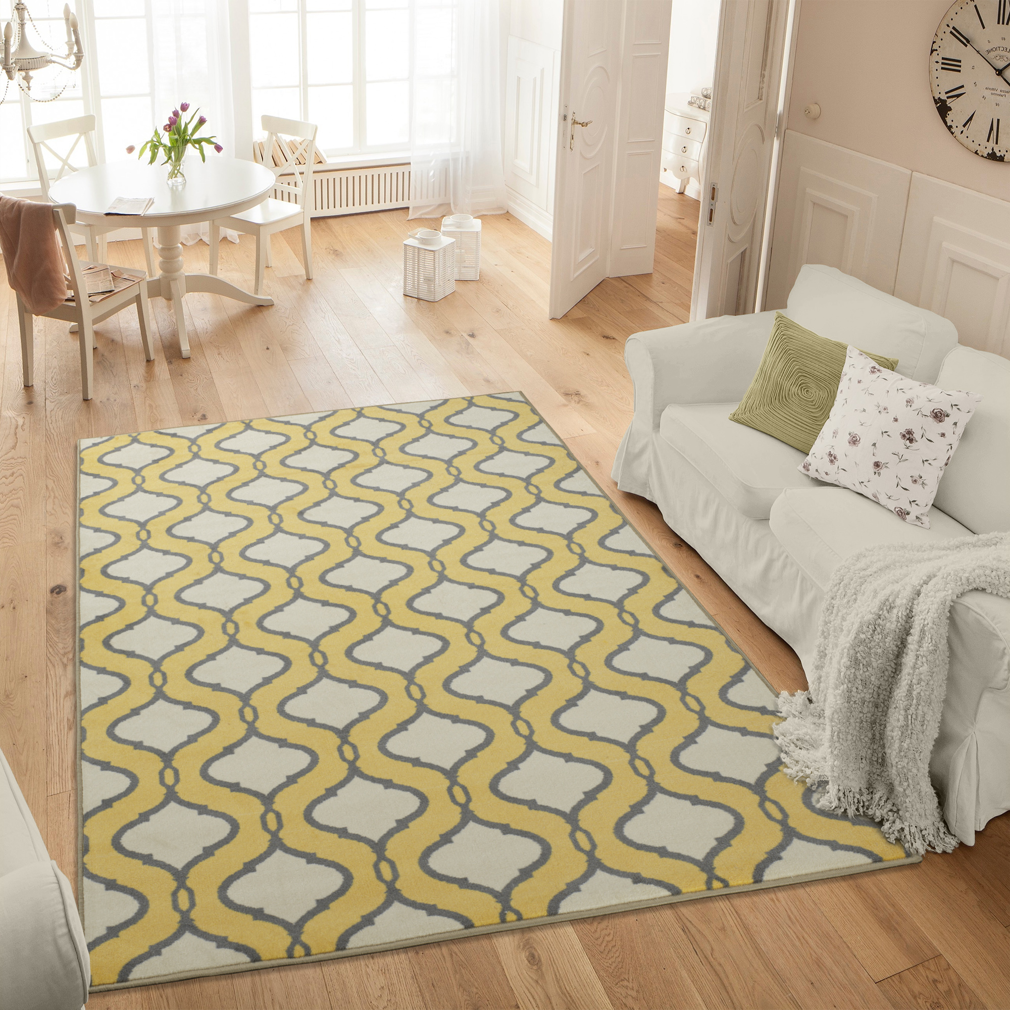 Ottomanson Studio Collection Yellow Trellis Design Area or Runner Rug