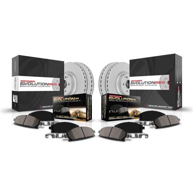 Power Stop K2808 Front /& Rear Brake Kit with Drilled//Slotted Brake Rotors and Z23 Evolution Ceramic Brake Pads