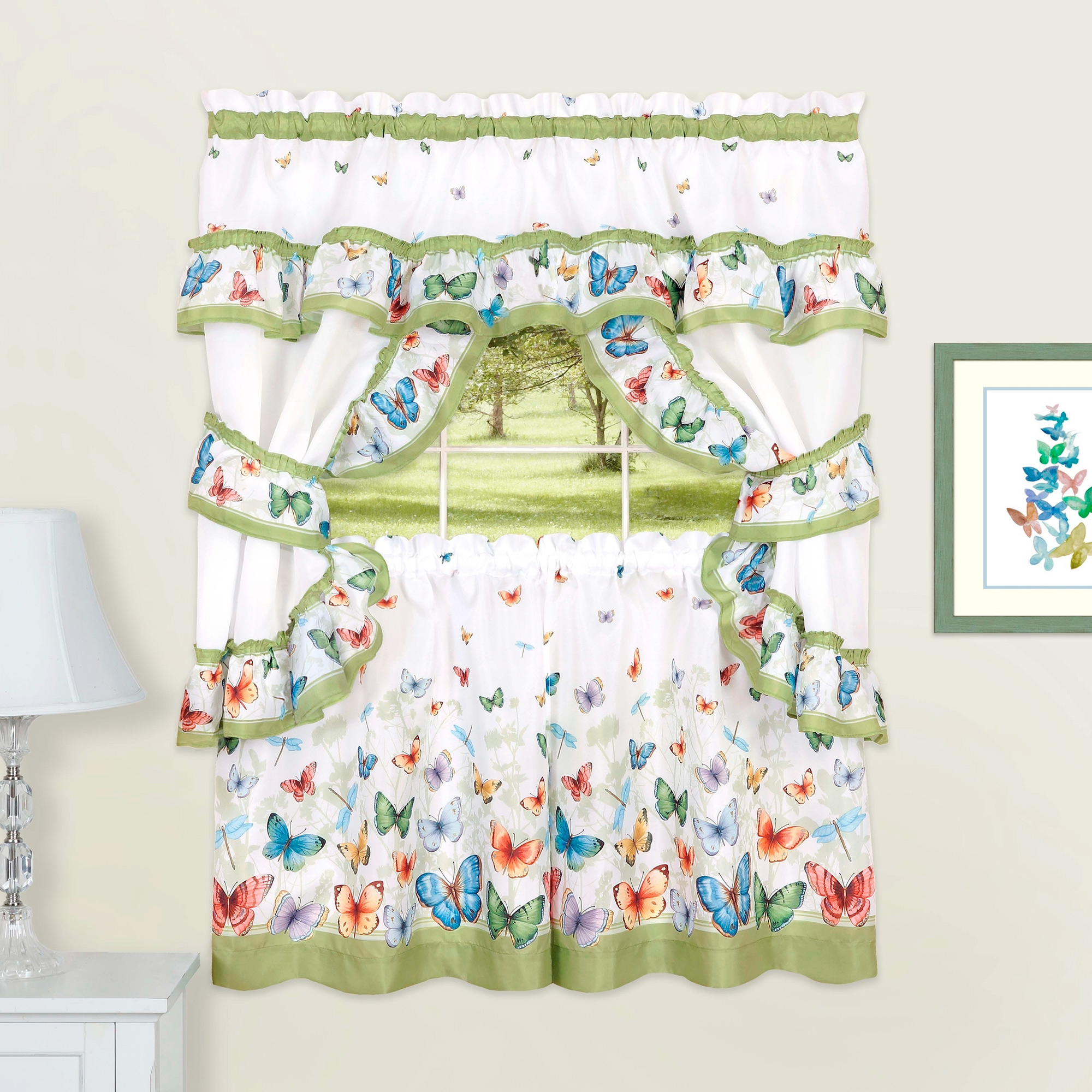 Butterflies Printed Kitchen Curtain Cottage Set Swag Tiers and Tiebacks