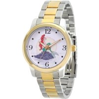 Disney Princess Ariel Women's Two Tone Alloy Watch, Two Tone Stainless Steel Bracelet