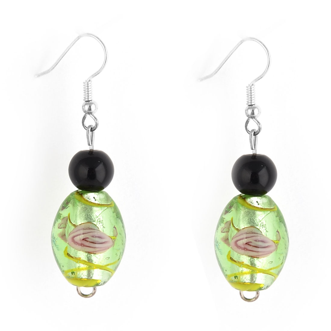 Travel Woman Glass Flower Print Jewelry Pendant Dangling Hook Earring Pair - image 2 de 2