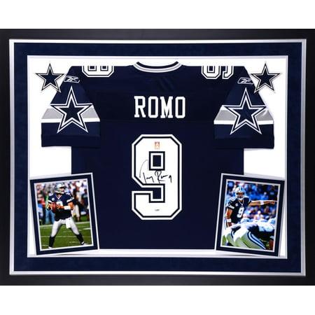 promo code 00fbe 15f5b Tony Romo Dallas Cowboys Autographed Deluxe Framed Navy Blue ...