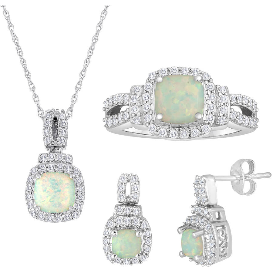 "Lab Created Opal and Cubic Zirconia Sterling Silver 3-Piece Boxed Set with Earring, Ring and Pendant, 18"" by Generic"