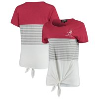 Alabama Crimson Tide Why Knot Colorblocked Striped Knotted T-Shirt - Crimson
