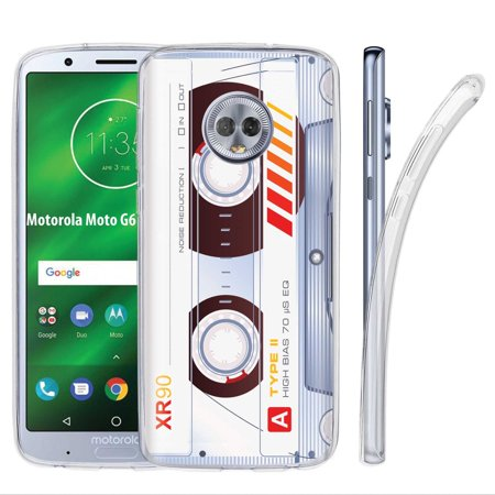 - [NakedShield] Motorola Moto G6 [Clear] Ultra Slim TPU Phone Cover Case [Cassette Clear Print]