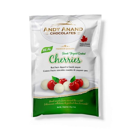 Andy Anand Chocolates Premium California Greek Yogurt Coated Cherries, All Natural, Made from Natural Ingredients- (Pack of 2 3oz).