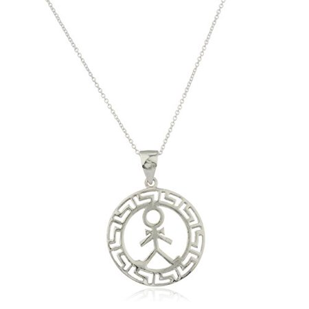 925 Sterling Silver Greek Key - Ladies Real 925 Sterling Silver Male Figure Greek Key Design Pendant with an 18 Inch Link Necklace